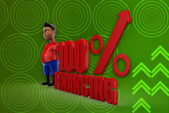 3d man 100% Financing illustration Stock Image
