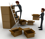 3d man finding in boxes concept Stock Images