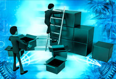 3d man finding in boxes illustration Stock Image