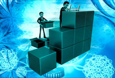 3d man finding in boxes illustration Stock Images