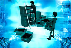 3d man finding in boxes illustration Royalty Free Stock Photos