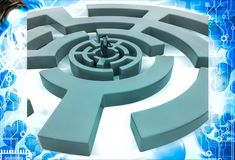 3d man into finding path puzzle illustration Stock Photos