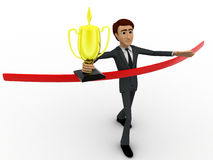 3d man finishing race and with winning cup concept Stock Photo