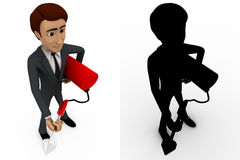 3d man with fire extinguish concept collections with alpha and shadow channel Royalty Free Stock Photo