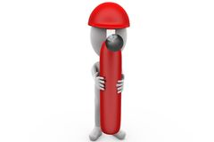 3d man fire extinguish concept Stock Images