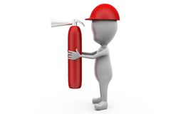3d man fire extinguish  concept Royalty Free Stock Images