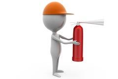 3d man fire extinguish concept Royalty Free Stock Photo