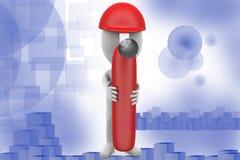 3d man fire extinguish illustration Royalty Free Stock Photos