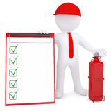 3d man with fire extinguisher and checklist. 3d man with a fire extinguisher and checklist. 3d render isolated on white background Stock Image