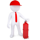 3d man with fire extinguisher. 3d man with a fire extinguisher. 3d render isolated on white background Royalty Free Stock Image