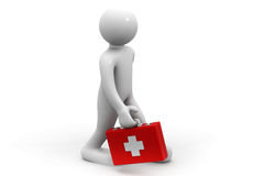 3d man with of a first aid box. 3d illustration of man with of a first aid box Stock Photo