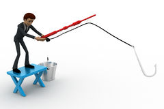 3d man fishing with fishing rod with big hook and bucket concept Stock Photos