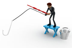 3d man fishing with fishing rod with big hook and bucket concept Royalty Free Stock Photography
