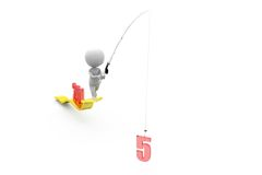 3d man fishing growth 2015 concept Royalty Free Stock Photo