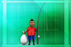 3d man with fishing rod illustration Royalty Free Stock Image