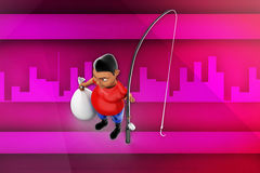 3d man with fishing rod illustration Royalty Free Stock Images