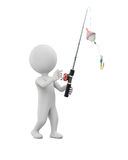 3D man with fishing rod Stock Images