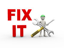 3d man fix it wrench and screwdriver Royalty Free Stock Images