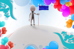 3d man with flag on land   illustration Royalty Free Stock Photo