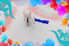 3d man with flag on land   illustration Royalty Free Stock Image
