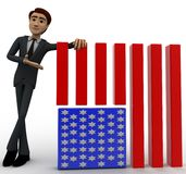 3d man with flag of united states of america concept Royalty Free Stock Image