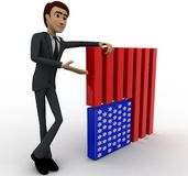 3d man with flag of united states of america concept Stock Images