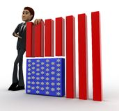 3d man with flag of united states of america concept Royalty Free Stock Photos