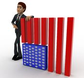 3d man with flag of united states of america concept Stock Photos