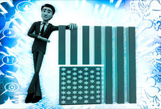 3d man with flag of united states of america illustration Stock Photography