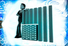 3d man with flag of united states of america illustration Stock Photo