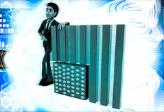 3d man with flag of united states of america illustration Royalty Free Stock Photos