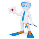 3d man with flippers holding an envelope Stock Photo