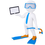 3d man in flippers holding tablet. 3d white man in flippers and mask holding a tablet. Isolated render on a white background Stock Photo