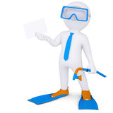 3d man with flippers holding white card Stock Photography