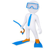 3d man with flippers and mask underwater. 3d render  on white background Royalty Free Stock Photos