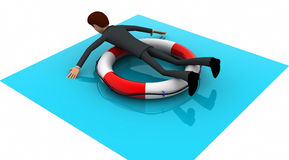 3d man on float tube concept Stock Image