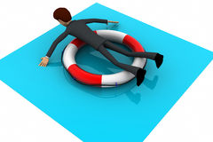 3d man on float tube concept Royalty Free Stock Photo