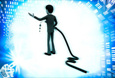 3d man with flue pump in hand illustration Stock Images