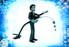 3d man with flue pump in hand illustration Royalty Free Stock Photo