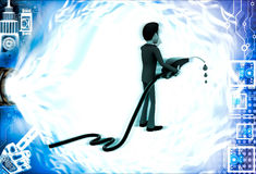 3d man with flue pump in hand illustration Stock Image