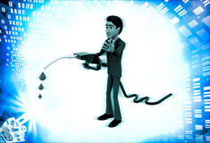 3d man with flue pump in hand illustration Royalty Free Stock Images