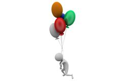 3d man fly balloon concept Royalty Free Stock Photography