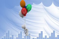 3d man fly balloon illustration Royalty Free Stock Image