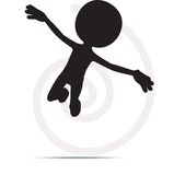 3d man flying with hands open. On white Royalty Free Stock Photos