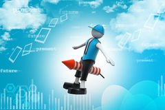 3d man flying rocket Stock Images