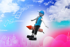 3d man flying rocket Stock Photos