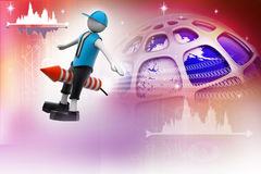 3d man flying rocket. In colorful background Royalty Free Stock Images