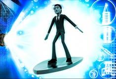 3d man on flying surf board illustration Royalty Free Stock Images