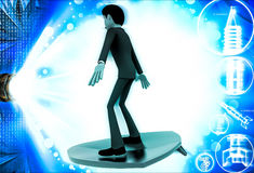 3d man on flying surf board illustration Royalty Free Stock Photography