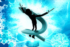 3d man flying in swirling arrow illustration Royalty Free Stock Photography